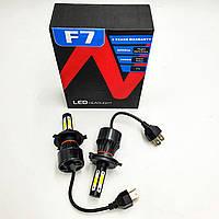 Комплект LED ламп H4 6500K 50W 12/24v з активним охолодженням HeadLight F7 2шт