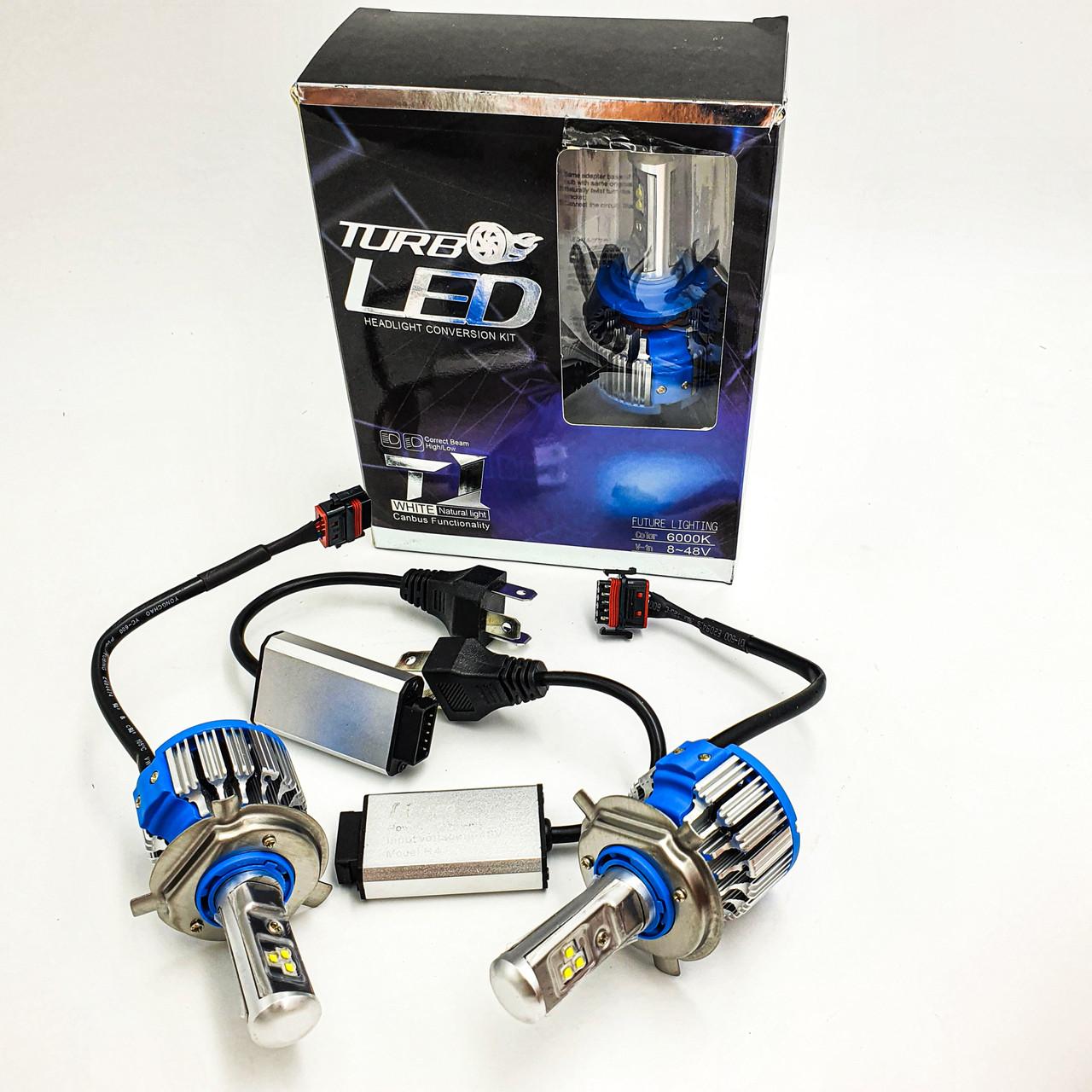 Комплект LED ламп H4 6000K 50W 12/24v с активным охлаждением TurboLed T1 2шт
