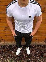 Спортивный костюм летний мужской Adidas, комплект белая футболка и черные штаны