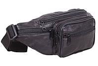 Кожаная сумка мужская на пояс плечо бананка поясная через плечо сумки из кожи черная кожа 8s912 Польша