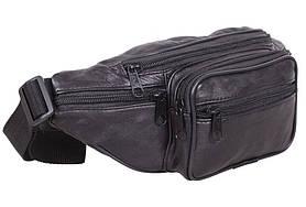 Кожаная сумка на пояс плечо мужская Евро бананка из натуральной кожи поясная черная кожа s912 Польша