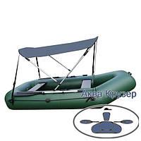 Солнцезащитный тент на лодку ПВХ Колибри, Барк др. Лодочный тент биминитоп от солнца для надувной лодки до 3 м, фото 1