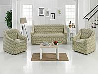 Набор жаккардовых чехлов на диван и кресла бежевого цвета, фото 1