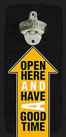 Настінна відкривачка для пляшок Open here and have a good time 32*15 см (ODP_20J012)