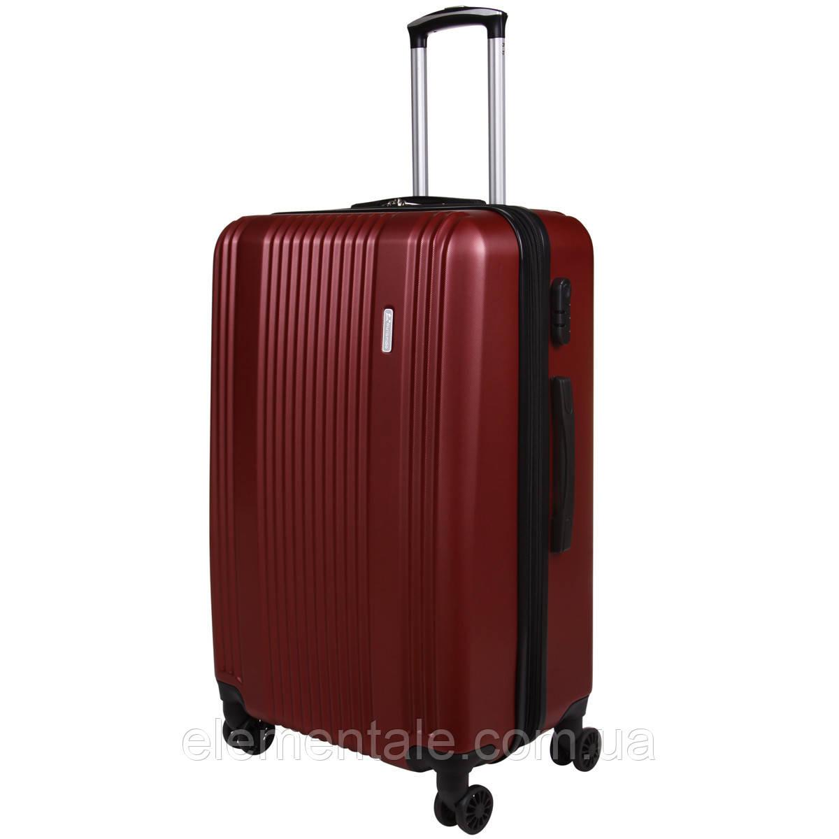 Пластиковый Чемодан на колесах большой дорожный для путешествий LYS ACCESORIOS OULANDO 47х70х30 см. Бордовый