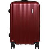 Пластиковый Чемодан на колесах большой дорожный для путешествий LYS ACCESORIOS OULANDO 47х70х30 см. Бордовый, фото 6