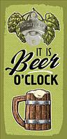 Настінна відкривачка для пляшок It is beer o'clock 32*15 см (ODP_20J011)