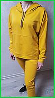 Женский стильный желтый однотонный спортивный костюм с капюшоном