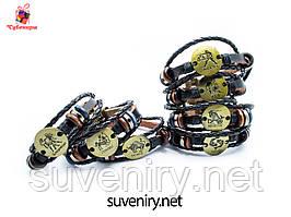 Модні шкіряні браслети зі знаком зодіаку на застібці