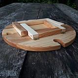 Винный столик - менажница на ножках из дерева черешни, ясеня 35х18 см. НМ-111, фото 8