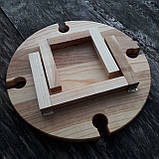 Винный столик - менажница на ножках из дерева черешни, ясеня 35х18 см. НМ-111, фото 7