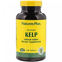 Natures Plus, Icelandic kelp (300 таб.), йод для щитовидной, келп