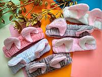 Махровая косметическая повязка на голову (для волос) с ушками, Розовая