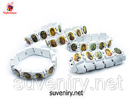 Деревянный белый браслет с ликами Святых