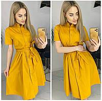 Платье-рубашка однотонное женское ГОРЧИЦА (ПОШТУЧНО)