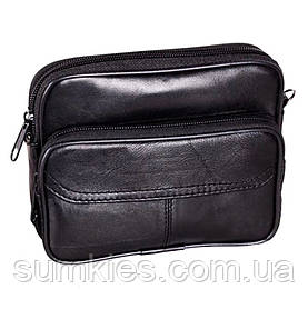 Кожаная сумка мужская через плечо поясная барсетка черная натуральная кожа 14х17 8s3005 Польша