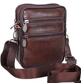 Мужская кожаная сумка через плечо поясная компактная барсетка коричневая 16х12 8s9950 Польша