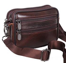 Мужская сумка кожаная через плечо барсетка из кожи поясная коричневая кожа 12х16 8s9947 Польша