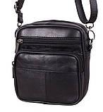 Кожаная сумка мужская через плечо и на пояс фирменная барсетка из кожи кожа черная 16х14 s1001 Польша, фото 2