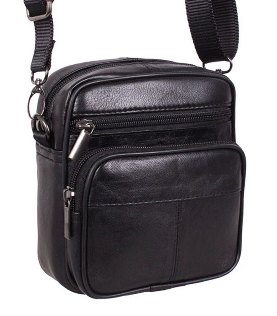 Кожаная сумка мужская через плечо и на пояс фирменная барсетка из кожи кожа черная 16х14 s1001 Польша