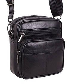 Кожаная сумка мужская через плечо поясная фирменная барсетка из кожи кожа черная 16х14 8s1001 Польша