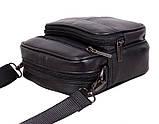 Кожаная сумка мужская через плечо и на пояс фирменная барсетка из кожи кожа черная 16х14 s1001 Польша, фото 4