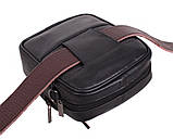 Кожаная сумка мужская через плечо и на пояс фирменная барсетка из кожи кожа черная 16х14 s1001 Польша, фото 5