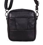 Кожаная сумка мужская через плечо и на пояс фирменная барсетка из кожи кожа черная 16х14 s1001 Польша, фото 3