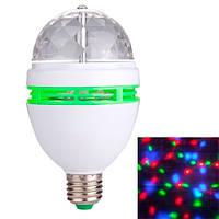 Диско лампа вращающаяся светодиодная, E27 LED RGB 3Вт Спартак