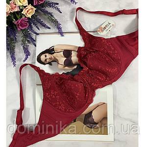 Женский бюстгальтер , без поролона, на косточках , размер 75В , цвет красный