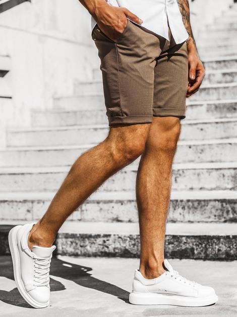 Мужские коттоновые шорты коричневые с подворотом