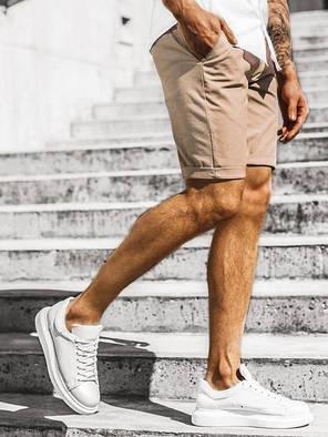 Котонові чоловічі шорти бежеві з підворотом, фото 2