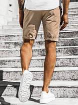 Котонові чоловічі шорти бежеві з підворотом, фото 3