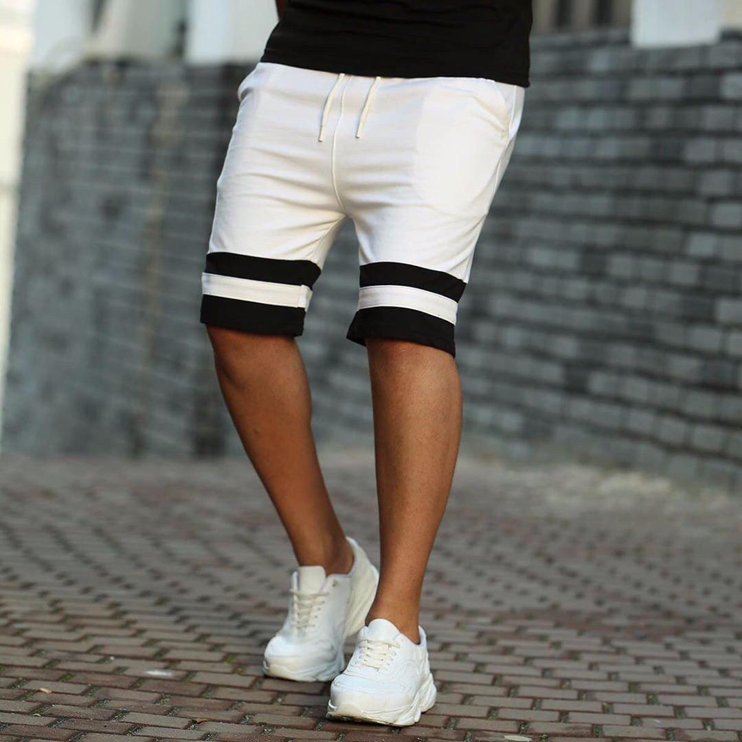 Мужские пляжные шорты белые с черными вставками
