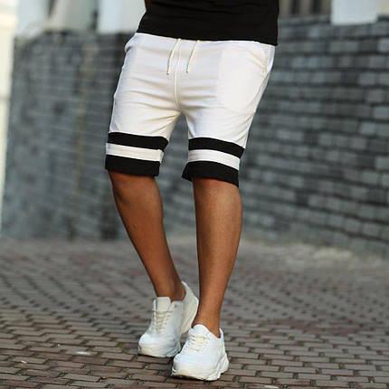 Мужские пляжные шорты белые с черными вставками, фото 2