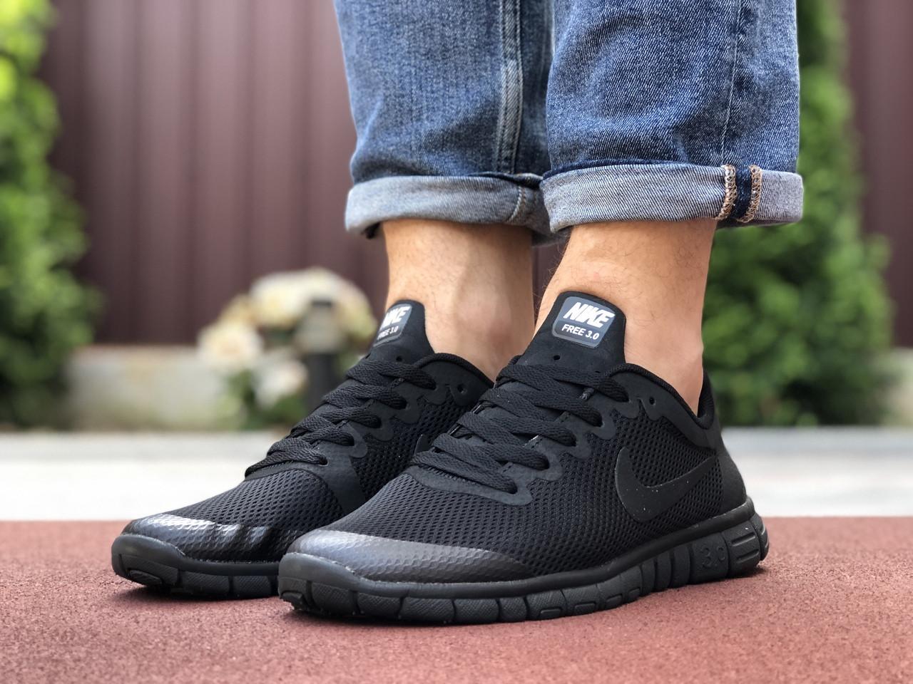 Мужские кроссовки летние Nike Free Run 3.0,черные