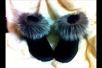 Женские стильные натуральные угги с мехом чернобурки