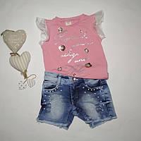 Джинсовые шорты и футболка для девочки на 2 года