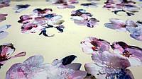 """Нежно-желтая ткань супер-софт цветочный принт """"Мива"""", фото 1"""