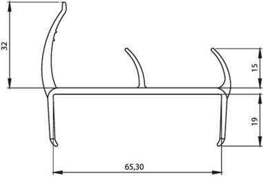 Уплотнительный профиль резино-пластиковый для фургонов 65 мм (Р 07)