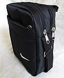 Сумка мужская через плечо великолепная вместительная спортивная барсетка черная 23х19х8см, фото 2