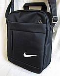 Сумка мужская через плечо великолепная вместительная спортивная барсетка черная 23х19х8см, фото 3