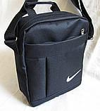 Сумка мужская через плечо великолепная вместительная спортивная барсетка черная 23х19х8см, фото 5