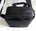 Сумка мужская через плечо великолепная вместительная спортивная барсетка черная 23х19х8см, фото 4