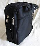 Сумка мужская через плечо великолепная вместительная спортивная барсетка черная 23х19х8см, фото 6