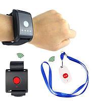 Беспроводная система вызова медперсонала, медсестры для пожилых людей Retekess F4411A из 2-х кнопок + часы - приёмник