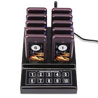 Беспроводная система оповещения и вызова клиентов и гостей с 10 пейджерами Retekess F4529