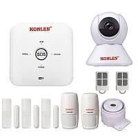 GSM WiFi сигнализация KONLEN TUYA MAXI, полный комплект для дома и офиса + WiFi 1080p камера. Двойная защита!