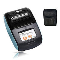Мобильный термопринтер чеков для смартфона bluetooth Goojprt PT-120, pos принтер + чехол, голубой