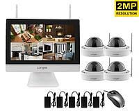 """Комплект видеонаблюдения беспроводной wifi с монитором 12"""" дюймов на 4 купольных камеры Longse"""